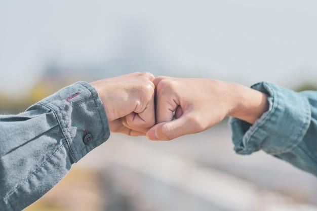 People are shake hand relationship  community partner