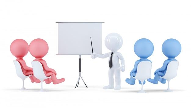 Люди на конференции. бизнес-концепция изолированы. содержит обтравочный контур сцены и доски.