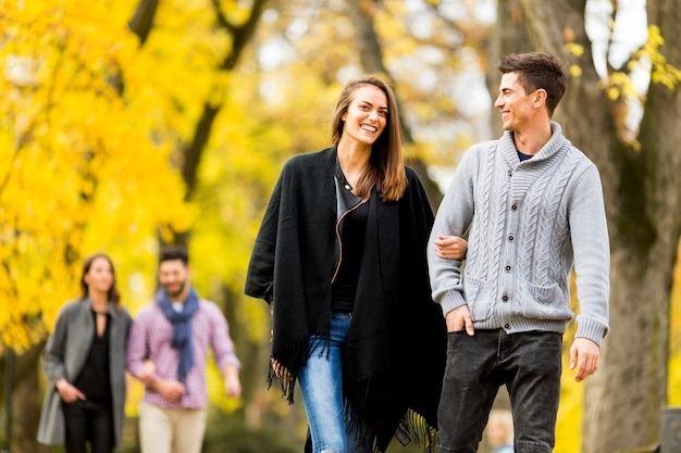 People in autumn park