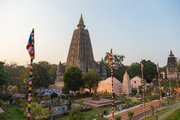People at bodhgaya, and bodh gaya is a religious site of buddhism