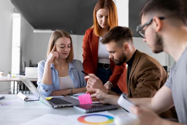 People brainstorming in a work meeting