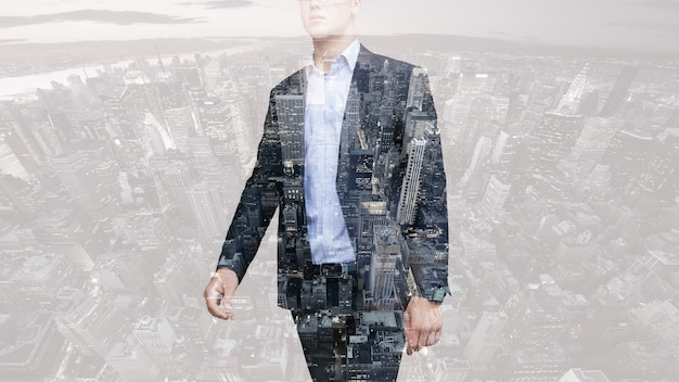 People, business,double exposure and lifestyle concept - photo of businessman . double exposure, city on the background. blurred background