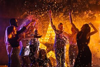 People celebrating at night
