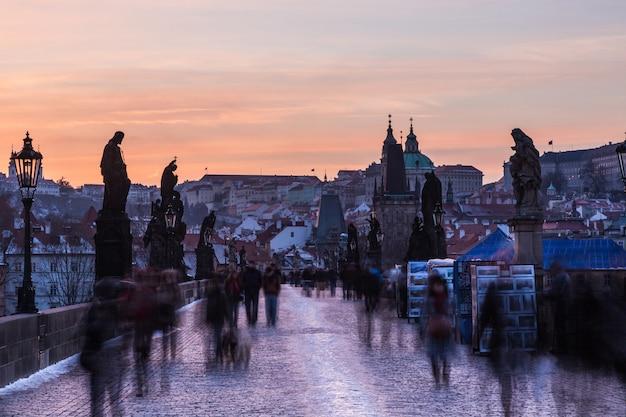 People on charles bridge in prague, long exposure