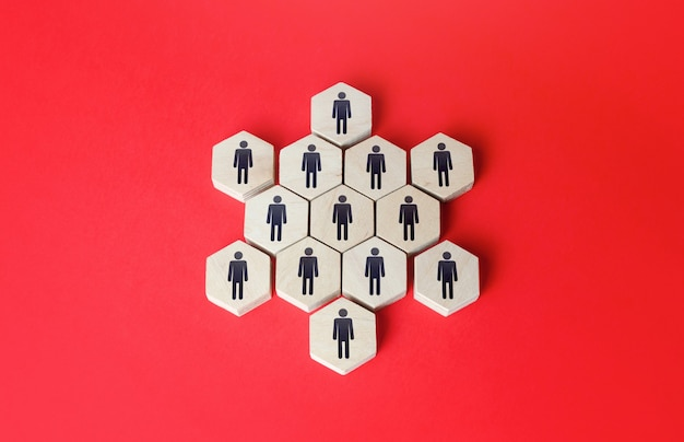 People combined into a starshaped structure unity building a business team teamwork cooperation