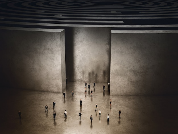 People coming out of a complicated maze