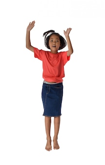People concept happy little asian boy jumping in air happiness, childhood