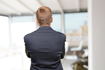 People confident executive behind male