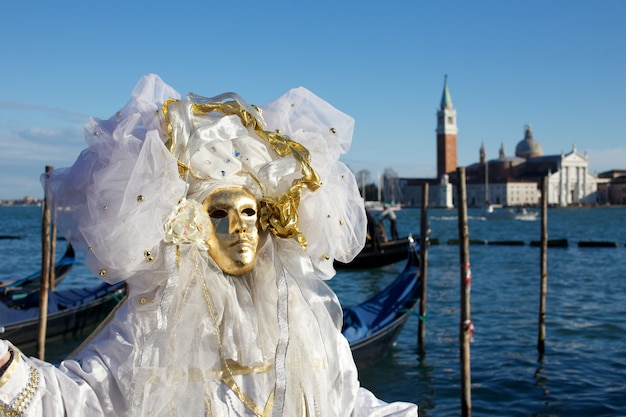 People in costume for venice carnival party