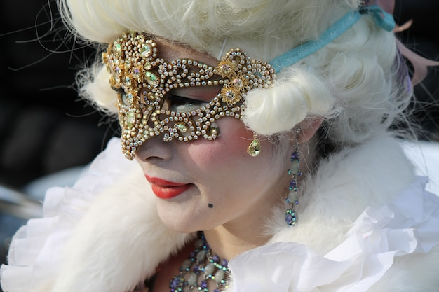 People in costume for venice carnival