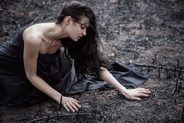 People and dying nature. ecology concept