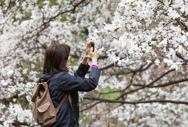 사람들은 목련 꽃을 즐깁니다. 사람들은 꽃이 만발한 목련 정원에서 사진을 찍고 셀카를 만듭니다. 꽃이 만발한 목련 나무는 매년 봄 수천 명의 방문객을 끌어들입니다