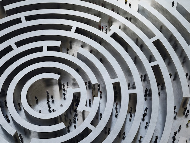People enter into a complicated labyrinth
