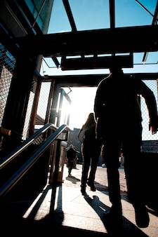 People exiting the subway in boston, massachusetts, usa