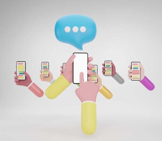 スマートフォンを持っている人の手。メディアマーケティング、ソーシャルメディアの概念、3dイラスト
