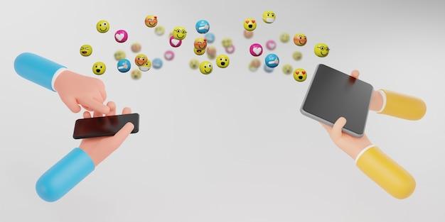 感情のアイコンでスマートフォンを持っている人の手。メディアマーケティング、ソーシャルメディアの概念、3dイラスト