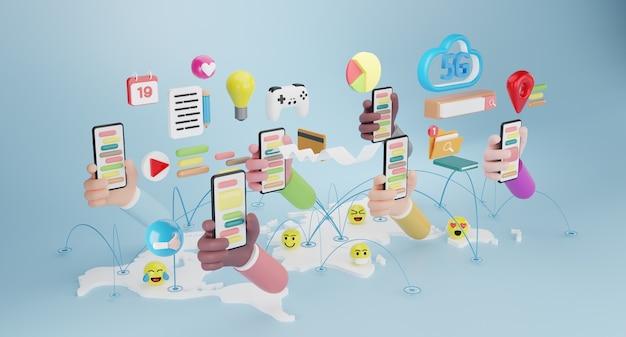 가제트 아이콘이 있는 스마트폰을 들고 있는 사람들. 소셜 미디어 개념입니다. 3d 렌더링
