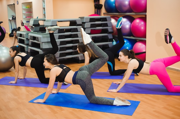 People at the health club with personal trainer, learning the correct form