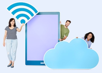 People holding a signal and a cloud icons