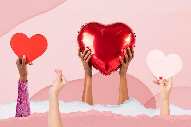 발렌타인 데이 축하 리믹스 미디어를 위한 하트 모형 psd를 들고 있는 사람들