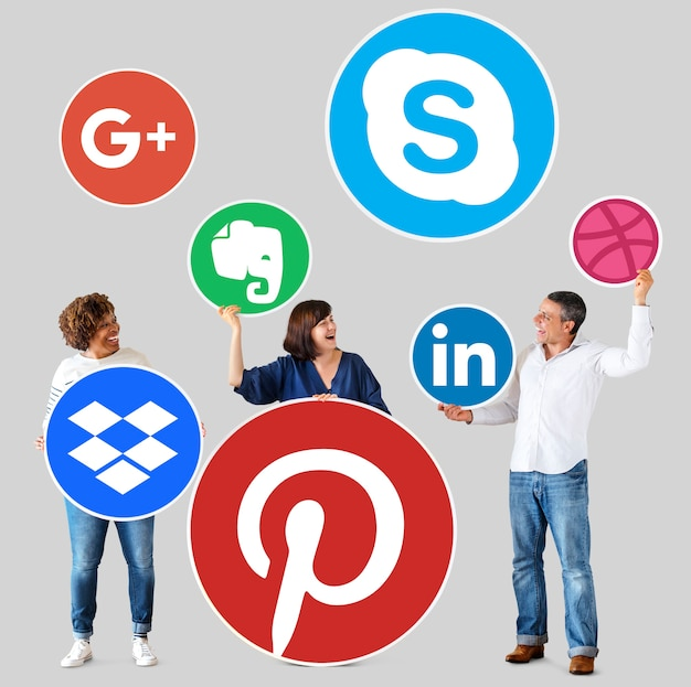 People holding icons of digital brands