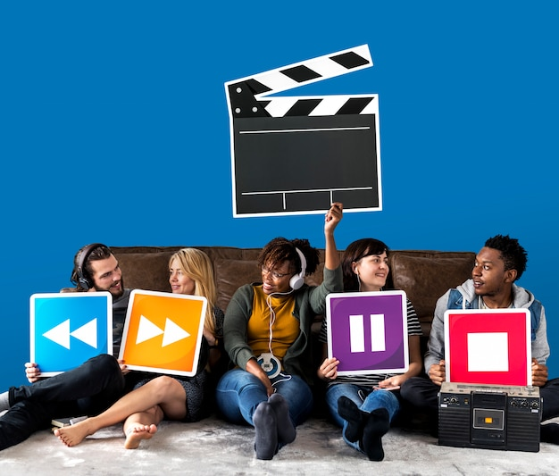 People holding media player icons and a clapper icon