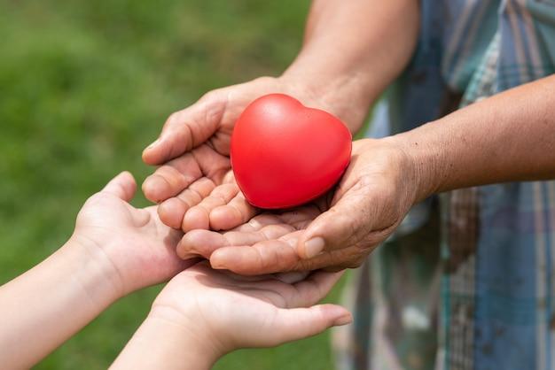 Люди держат резиновое сердце