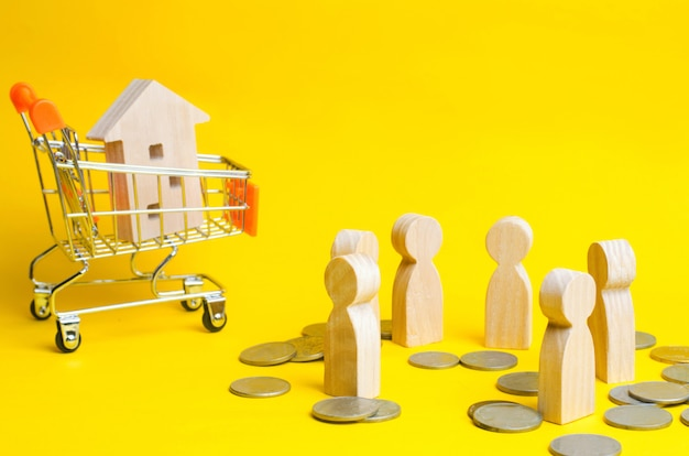 People, house in supermarket trolley