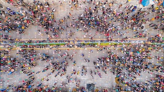 People in Songkran Festival at center of Sukhothai province