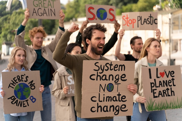 People joining a global warming protest