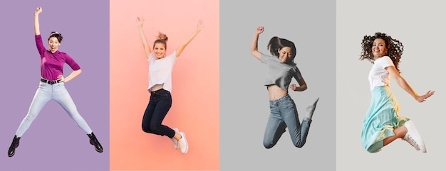People jumping collage design