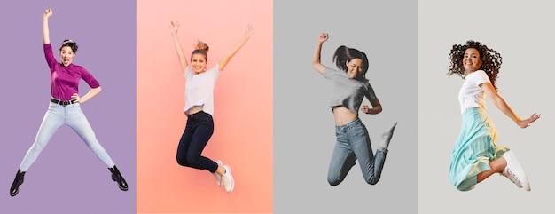 Люди прыгают дизайн коллажа