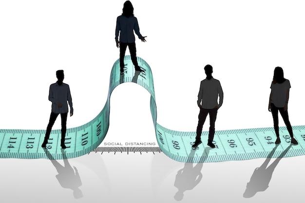 人々は定規スケール測定の概念で距離を保ちます。コロナウイルスやcovid-19に感染したり病気になったりするリスクがあるため、人々は距離を保ちます。人混みを避ける。