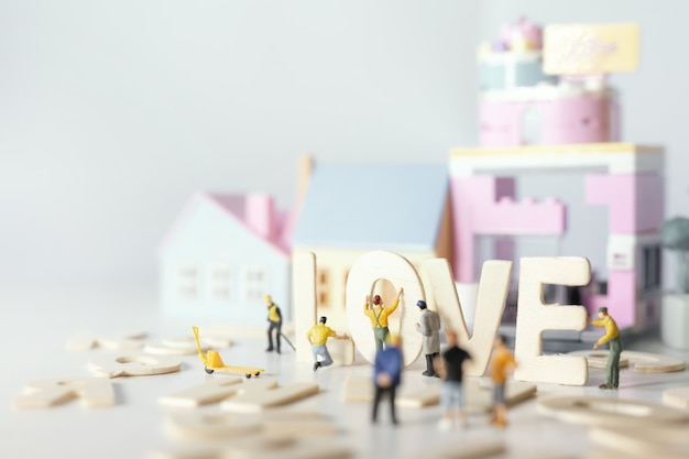 People(miniature) preparing valentine's day with