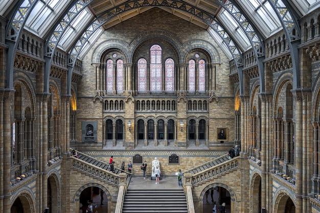 런던 국립 역사 박물관 계단 위의 사람들