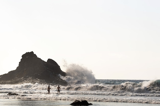 테 네리 페 섬에 benijo의 모래 해변에있는 사람들. 스페인.