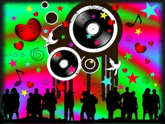 People pop disk dancing music record disco