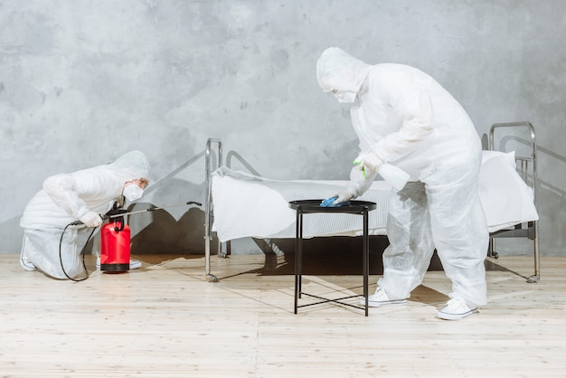People in a protective suit with a disinfectant sprayer to disinfect household and furniture.