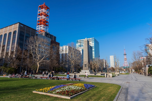 People relax at odori park