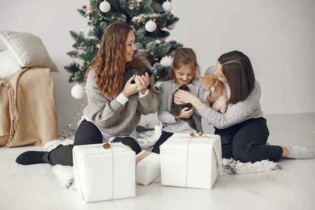 クリスマスの準備をしている人。クリスマスの木のそばに座っている人々。