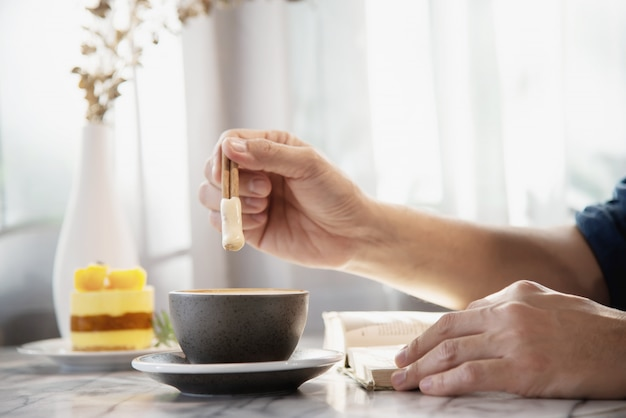 People serve beautiful fresh relax morning coffee cup set