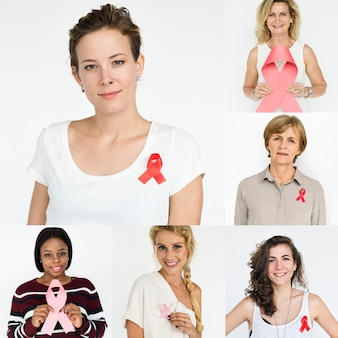 People set of diversity women with red ribbon studio collage