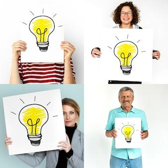 アイデアのインスピレーションスタジオコラージュを持つ人々の多様性のセット