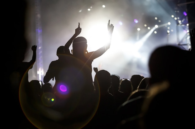 People silhouettes with raised hands on outdoor music show.