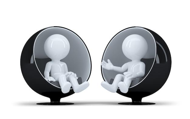 Люди сидят в современном круглом кресле лицом друг к другу и разговаривают. изолированные