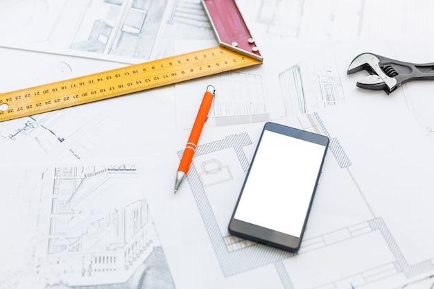 People sketching house plan
