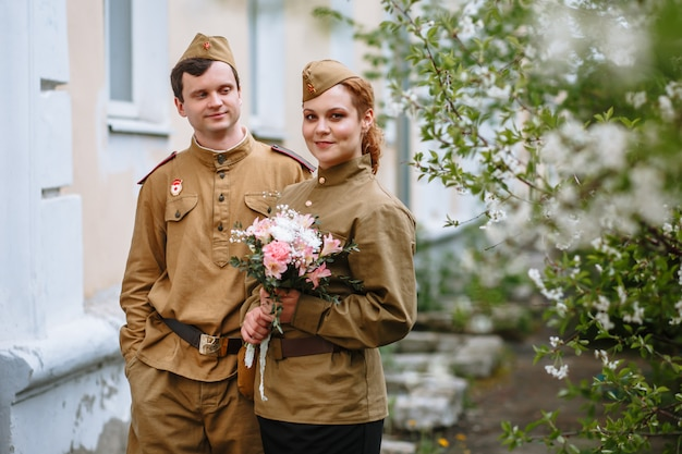 People in soviet military uniforms