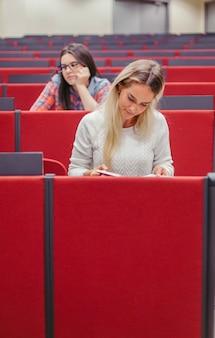 Persone che studiano all'anfiteatro