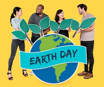 People supporting environmental conservation on Earth day