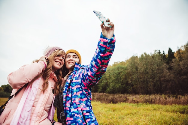 People take a selfie
